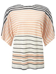 Jigsaw Linen Multi Stripe T Shirt Orange