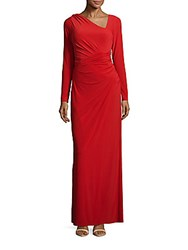 Vera Wang Long Sleeve Solid Gown Poppy