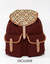 Reclaimed Vintage Leather Trim Backpack With Tapestry Burgundy