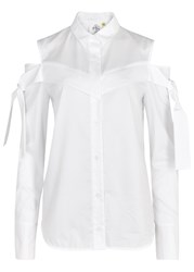 Sjyp White Open Shoulder Cotton Blouse