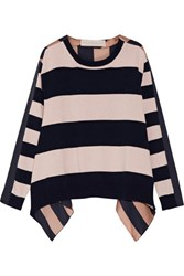 Stella Mccartney Striped Cashmere And Wool Blend And Silk Satin Top Pastel Pink