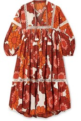 Dodo Bar Or Nell Floral Print Cotton Voile Dress Orange