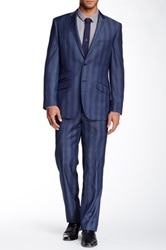 English Laundry Striped Two Button Notch Lapel Wool Suit Black