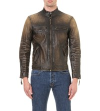 Polo Ralph Lauren Distressed Leather Jacket Brown