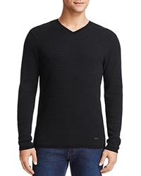 Armani Collezioni Textured V Neck Sweater Black