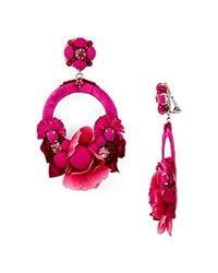 Ranjana Khan Rose Petal Hoop Clip On Earrings Fushia