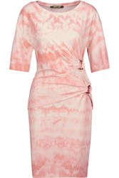 Roberto Cavalli Gathered Printed Stretch Crepe Mini Dress Antique Rose