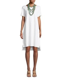 Eileen Fisher Stretch Ponte Short Sleeve Dress White