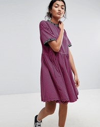 Lazy Oaf Smock Dress In Stripe With Bad For You Taping Pink