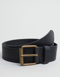 Asos Slim Black Leather Belt With Vintage Finish Black