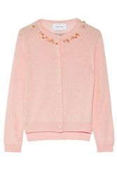 Simone Rocha Embellished Merino Wool Silk And Cashmere Blend Cardigan