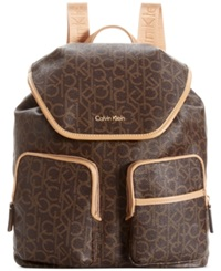 Calvin Klein Hudson Monogram Backpack Brown Khaki Camel