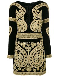 For Love And Lemons Longsleeve Embroidered Dress Women Silk Rayon S Black
