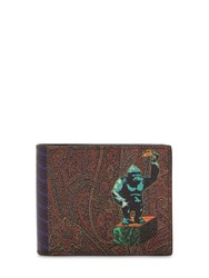 Etro Pvc Paisley And King Kong Printed Wallet Multicolor