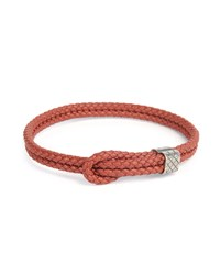 Men's Woven Leather Knot Bracelet Red Bottega Veneta