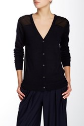 Pink Tartan V Neck Sheer Back Wool Blend Cardigan Blue