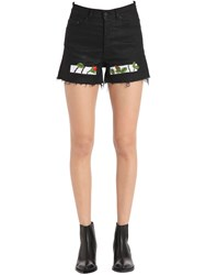 Off White High Waist Rose Embroidered Denim Shorts