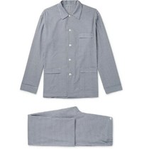 Anderson And Sheppard Gingham Brushed Cotton Twill Pyjama Set Navy