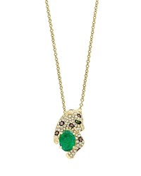 Bloomingdale's Emerald White Diamond And Brown Diamond Panther Pendant Necklace In 14K Yellow Gold 18 100 Exclusive Multi Gold