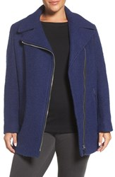 Calvin Klein Plus Size Women's Asymmetrical Wool Blend Coat Sonic