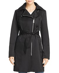 Vince Camuto Asymmetric Front Belted Trench Coat Black