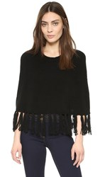 Theperfext Cropped Cashmere Poncho With Fringe Black