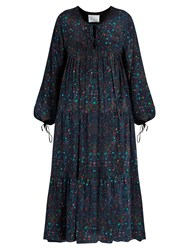Athena Procopiou Midnight's Love Romantic Silk Dress Blue Multi