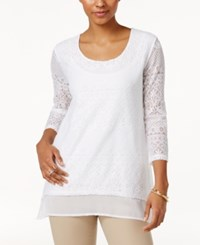 Jm Collection Petite Layered Look Lace Tunic Only At Macy's Bright White