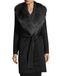 Fleurette Wrap Coat With Silver Fox Collar Black Silver Fox