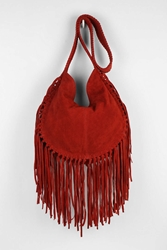 Ecote Bettina Suede Fringe Hobo Bag Red