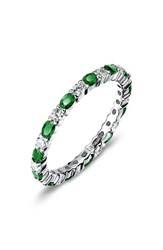 Lafonn Women's Simulated Diamond Birthstone Band Ring May Emerald