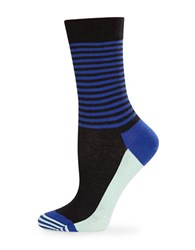 Happy Socks Striped Crew Black Blue