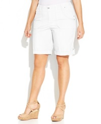 Inc International Concepts Plus Size Roll Tab Shorts Bright White