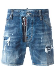 Dsquared2 Dan Distressed Denim Shorts Blue