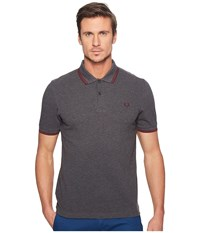 Fred Perry Slim Fit Twin Tipped Polo Graphite Marl Rosewood Men's Short Sleeve Knit Black