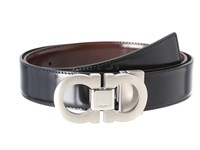 Salvatore Ferragamo Adjustable Reversible Belt Black Brown Men's Belts