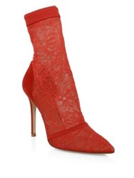 Gianvito Rossi Stretch Lace Sock Booties Tabasco Red