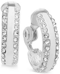 Anne Klein Pave Accented Clip On Hoop Earrings Silver