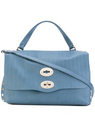 Zanellato Cross Body Satchel Tote Women Leather One Size Blue