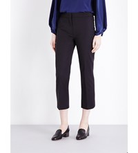 Sportmax Cropped Mid Rise Cotton Blend Trousers Black