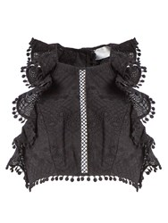 Zimmermann Caravan Ruffled Cropped Top Black