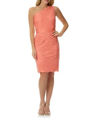 Laundry By Shelli Segal Lace One Shoulder Dress Vintage Coral