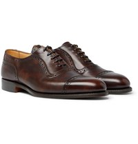 Tricker's Trenton Cap Toe Burnished Leather Oxford Brogues Brown