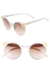 Sam Edelman Circus By 50Mm Daisy Accent Round Sunglasses White Pink Lens White Pink Lens