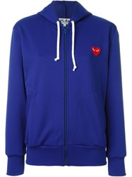 Comme Des Gara Ons Play Embroidered Heart Zipped Hoodie Blue