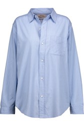 Current Elliott The Prep School Pinstriped Cotton Shirt Sky Blue