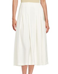 Ella Moss Inverted Pleat Midi Skirt Natural