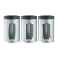 Brabantia Window Canisters Set Of 3 Matt Steel