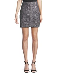 Rebecca Taylor Snake Print Leather Zip Front Short Skirt