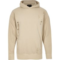 River Island Mens Beige Ripped Cotton Hoodie